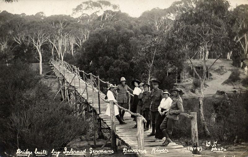 Early B/W photo of German internees