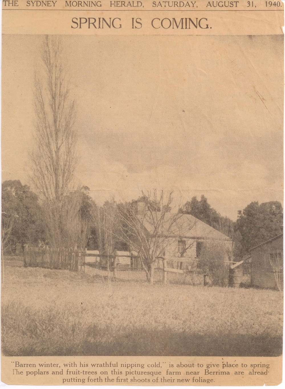 accommodation in Berrima- Sydney Morning Herald Oldbury Cottage 1940