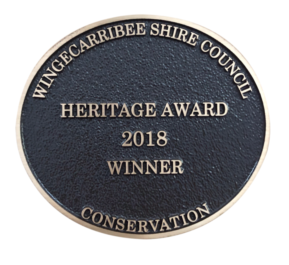 Wingecarribee Shire Council 2018 Heritage Award Plaque