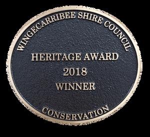 Wingecarribee Shire Council 2018 Heritage Award Plaque