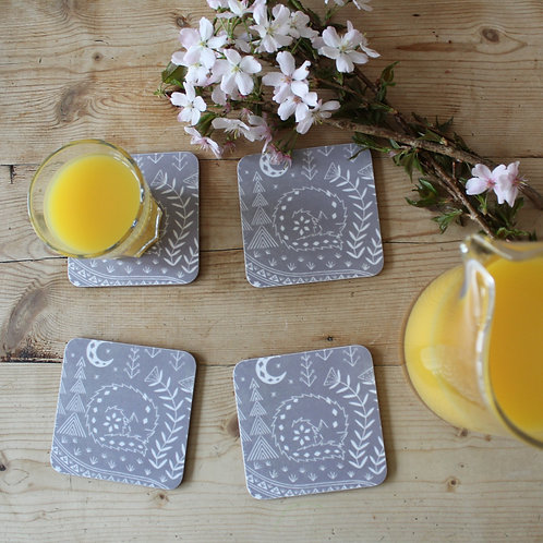 Connor Wolf Coasters in grey, Set of 4, Scandi Tableware gift