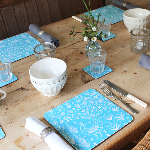 Set of 4 Pearce Peacock Placemats in teal