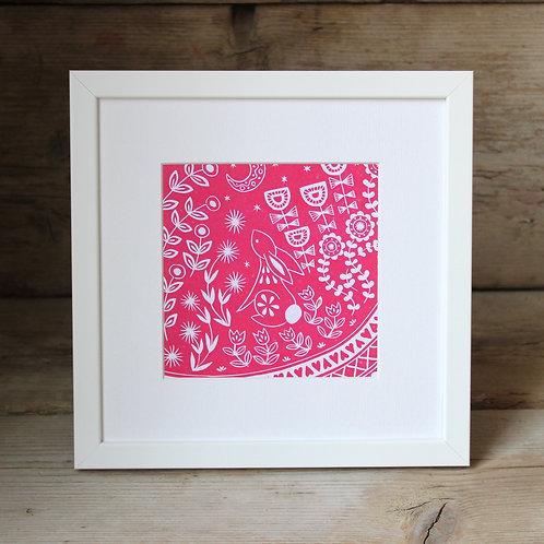 Small framed Evelyn Bunny Print, Scandi style art gift