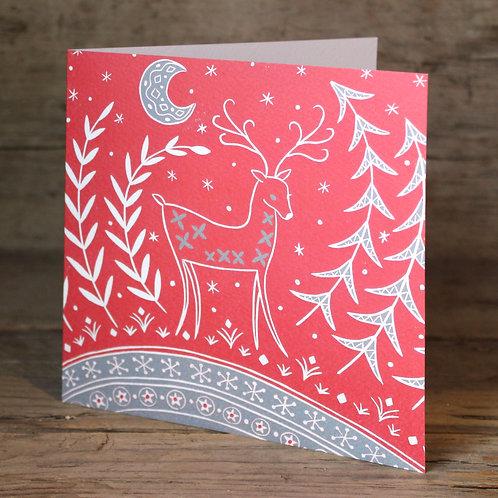 Lucy Reindeer Christmas card, Scandi art card
