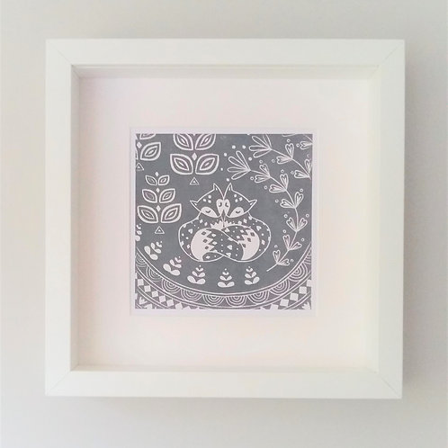 Small Framed Daniel and Rosie Fox Print, Scandi style art gift