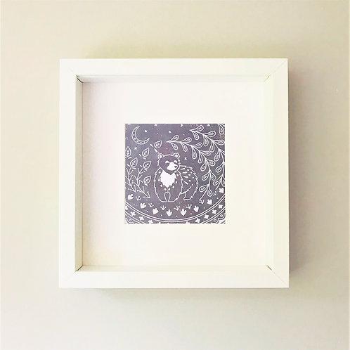 Small framed Leon Bear Print, Scandi style art gift