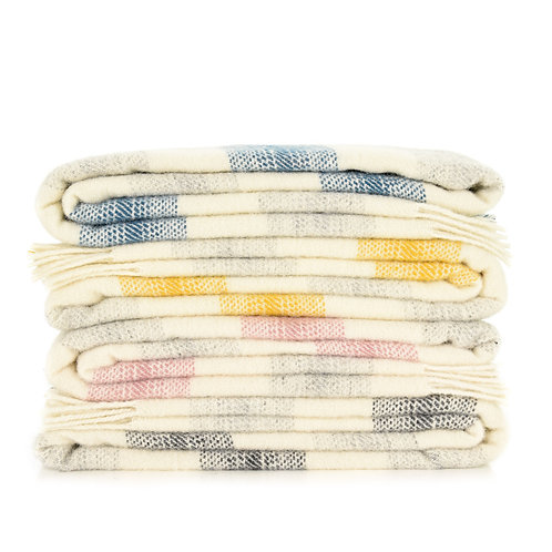 Meadow Check Wool Blankets - various colours