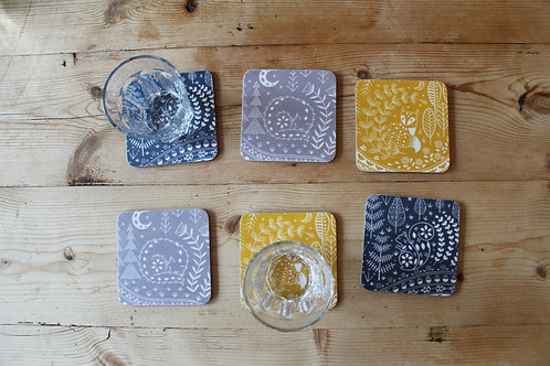 Set of 6 Coasters Featuring Daniel Fox, Connor Wolf and Edward Squirrel