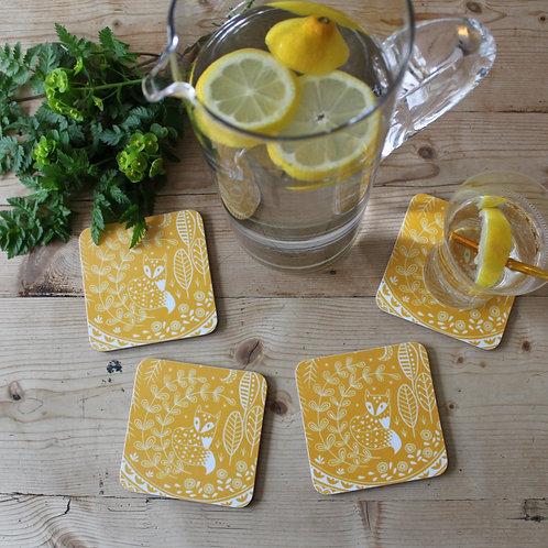 Set of 4 Daniel Fox Coasters in mustard yellow, Scandi Tableware gift