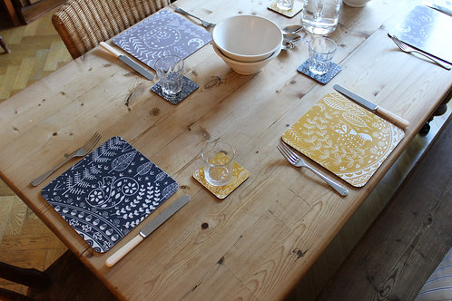 Set of 6 Placemats featuring Daniel Fox, Connor Wolf and Edward Squirrel