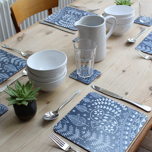 Set of 4 Edward Squirrel Placemats in midnight blue