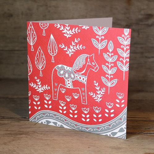 Dala Horse Christmas card, Scandi art card