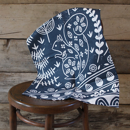 Edward Squirrel Tea Towel in midnight blue , Scandi kitchen gift