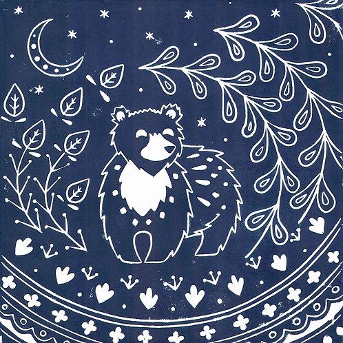 Leon Bear Linocut Print, Scandi style art