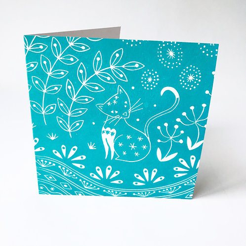Jemima Cat in teal Greetings card, Cat art card