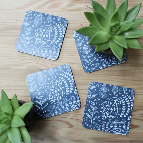 Set of 4 Edward Sqirrel Coasters in midnight blue, Scandi Tableware gift