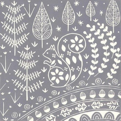Edward Squirrel Linocut Print, Scandi style art