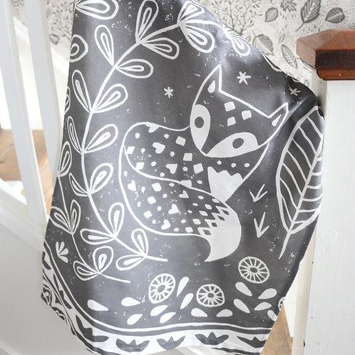 Daniel Fox Tea Towel in grey, Scandi homeware gift