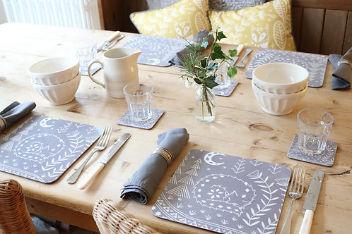 Set of 6 Connor Wolf Placemats in grey, Scandi Tableware gift