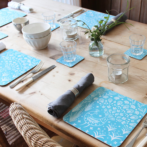 Set of 6 Pearce Peacock Placemats in teal