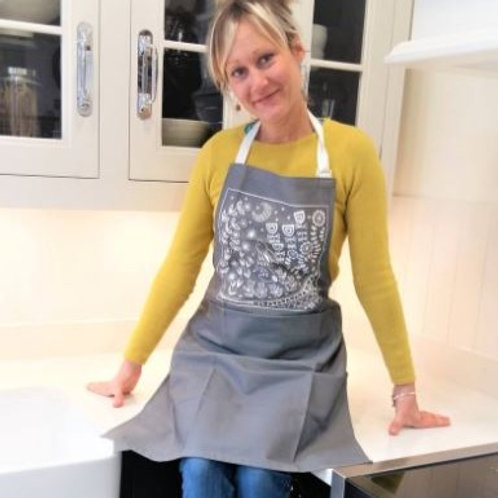 Evelyn Bunny Adult Apron in grey, Scandi style gift for cookery fun