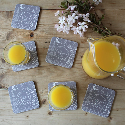 Connor Wolf Coasters in grey, set of 6 Scandi Tableware gift
