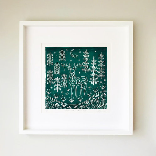 Thomas Elk Linocut Print, Scandi style wall art