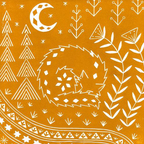 Connor Wolf Linocut Print, Scandi style art