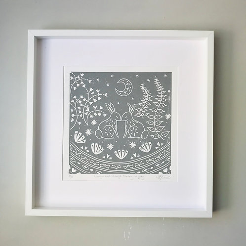 Evelyn and George Bunny Linocut Print, Scandi style kids roomwall art