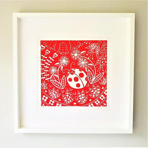 Olivia Ladybird Linocut Print, Scandi style wall art