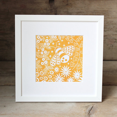 Small framed Beatrix Bee Print, Scandi style art gift
