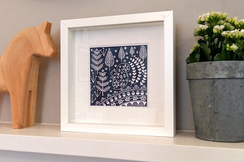 Small framed Edward Squirrel Print, Scandi style art gift
