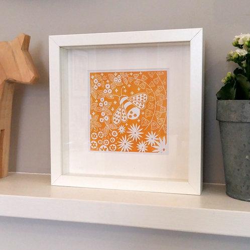 Small framed Beatrix Bee Print, Scandi style art gift