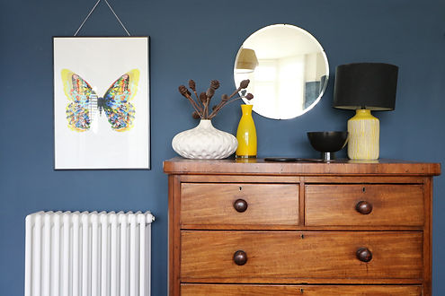 Master - bedroom dark blue walls with vi