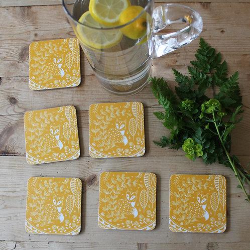Daniel Fox Coasters in mustard yellow, Set of 6 Scandi Tableware gift