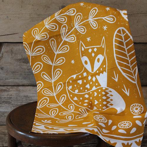 Daniel Fox Tea Towel in yellow ochre, Scandi homeware gift