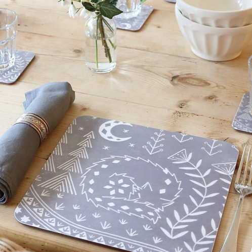 Set of 4 Connor Wolf Placemats in grey, Scandi Tableware gift