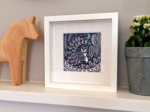 Small framed Daniel Fox Print, Scandi style art gift