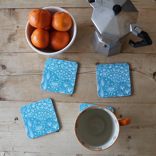 Set of 4 Pearce Peacock Coasters in teal, Scandi Tableware gift