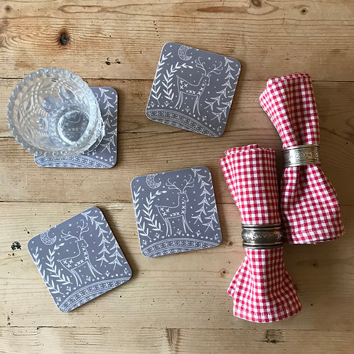 Set of 4 Lucy Reindeer Coasters in grey, Scandi Tableware gift