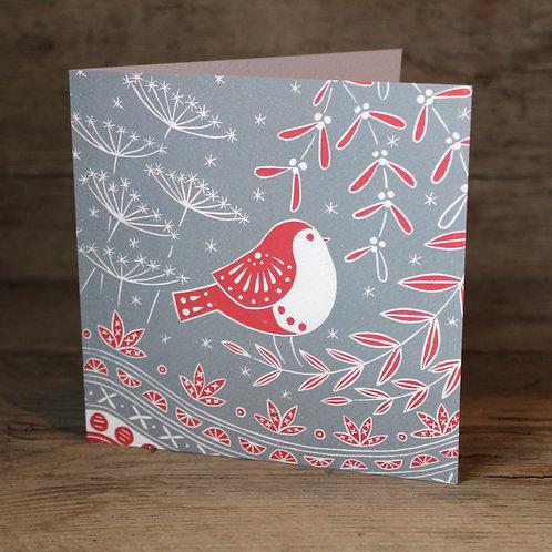 Jacinta Robin Christmas card, Scandi art card