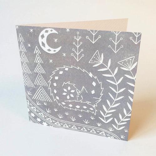 Connor Wolf Greetings card, Scandi art