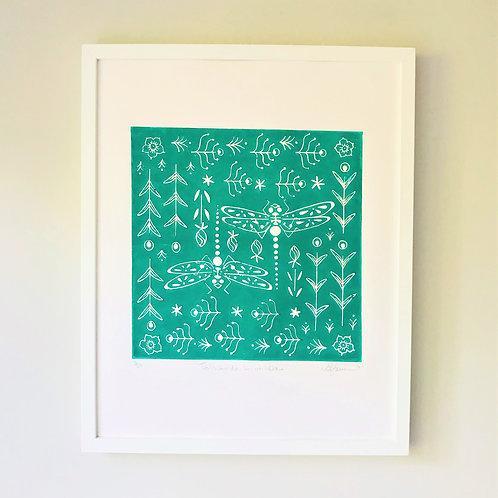 Trollslander Linocut Print, Scandi style wall art Dragonfly