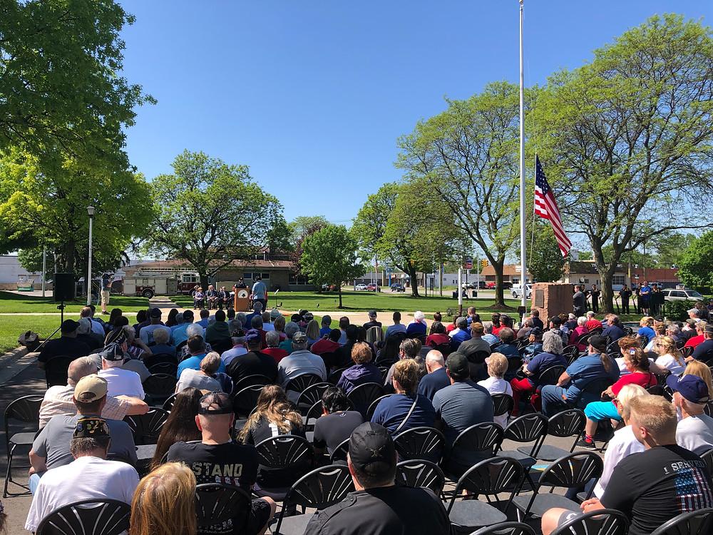 Joe Warner speaking at Garden City's 2019 Memorial Day Celebration