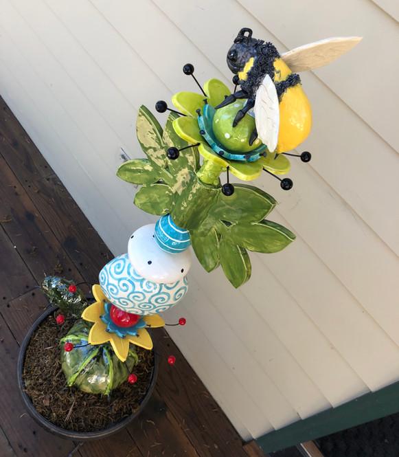 Ceramic Bumble Bee Totem