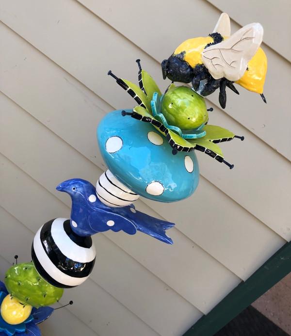 blue bird & Bee flowers