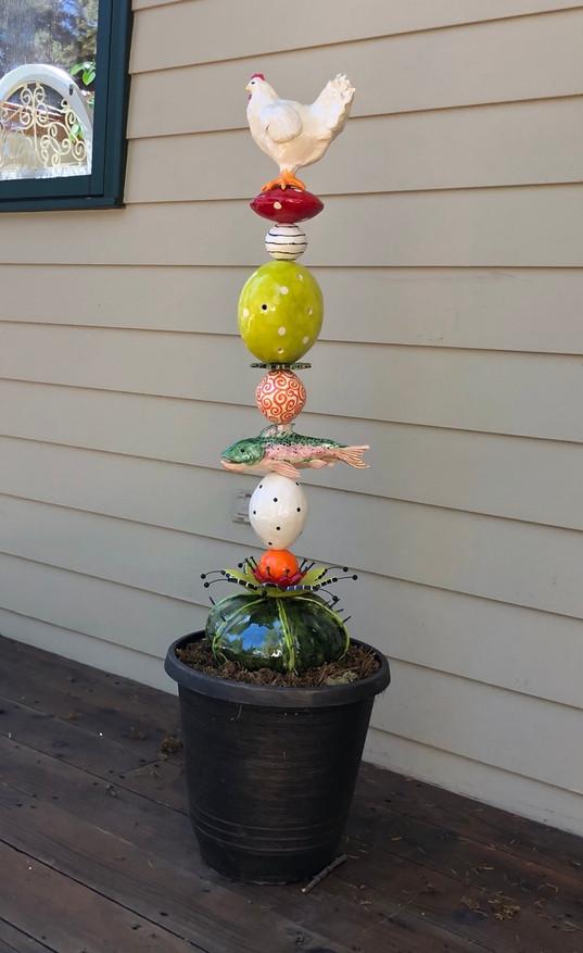 Chicken or Fish Garden Totem