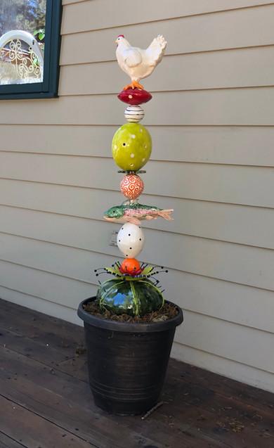 ceramic Garden Totem by maryjudy
