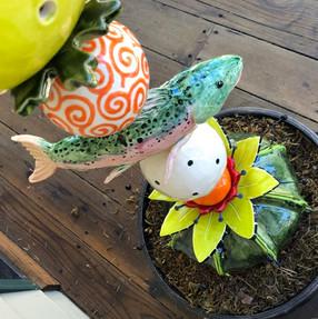 ceramic trout on Garden Totem