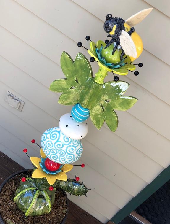colorful pottery totem